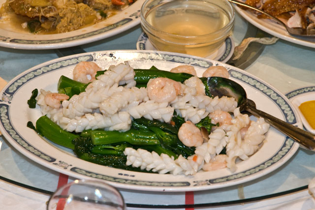 Banquet gailan with prawn and squid